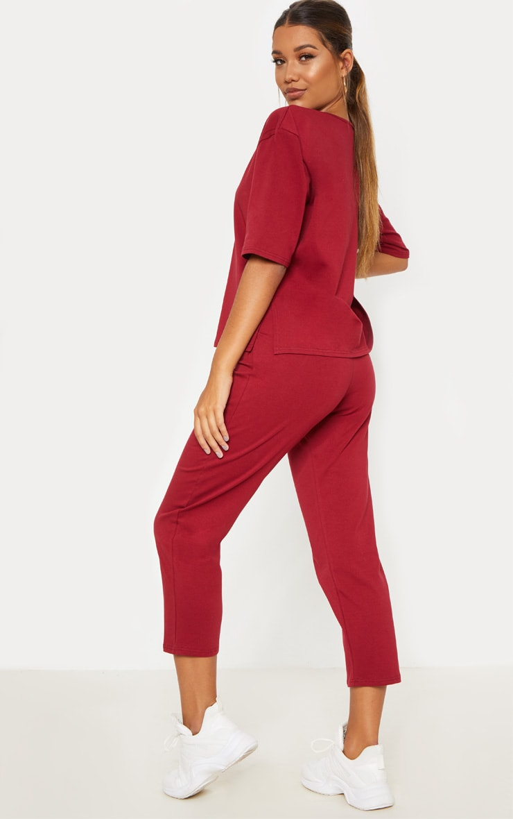 Burgundy Jersey Crew Neck Boxy T Shirt & Trouser Set 2