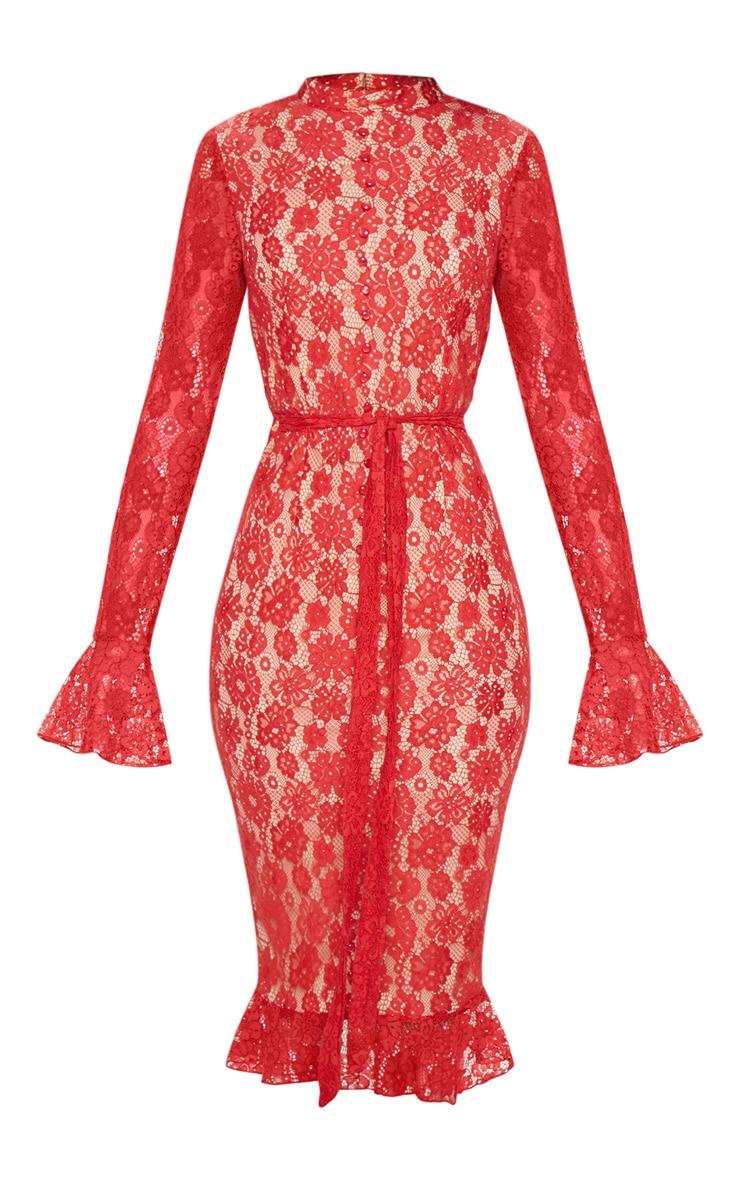 Robe mi-longue en dentelle rouge à ourlet volanté et détail boutons 3