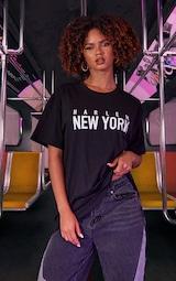 Black Unisex Harlem Graphic Print Oversized T Shirt 4