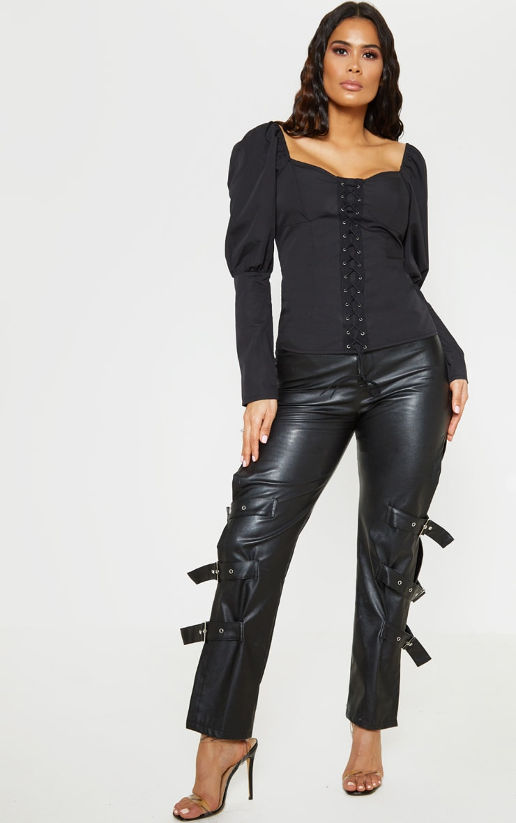 Black Lace Up Cup Detail Puff Long Sleeve Top 4