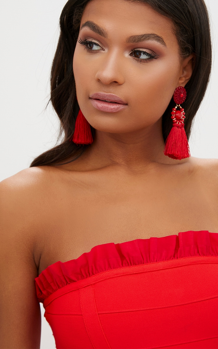 Red Bandage Frill Detail Bandeau Bodycon Dress 5