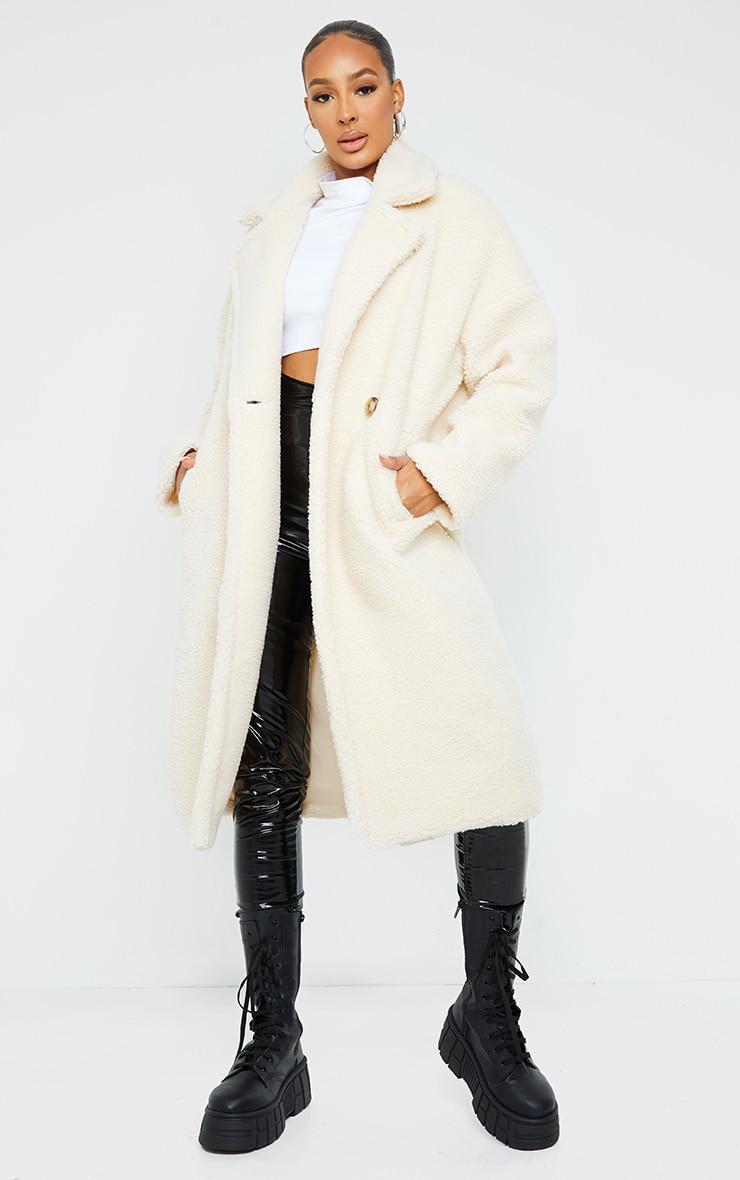 White Borg Lapel Drop Arm Maxi Coat 1