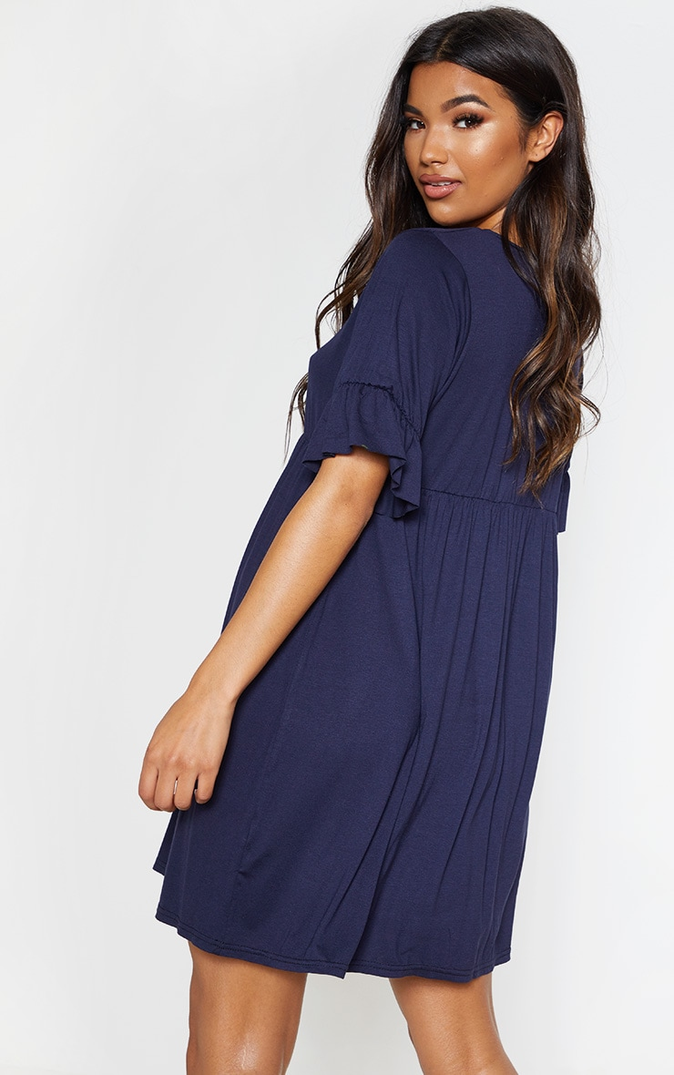 Navy Short Sleeve Smock Dress 2
