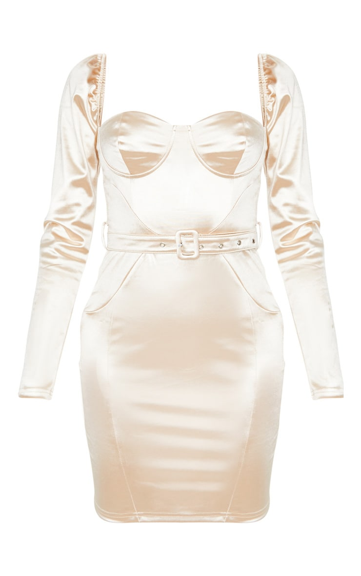 Tall Champagne Long Sleeve Satin Cup Detail Belted Mini Dress  3