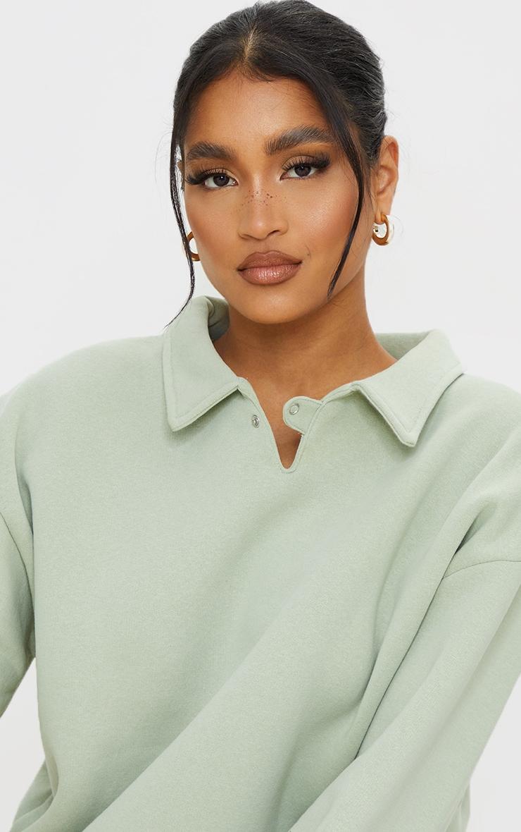 Sage Green Fleece Collar Oversized Sweat 4