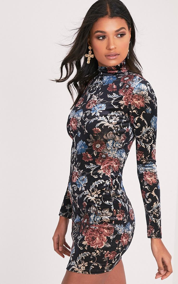 Kirah robe moulante noire en velours col montant à imprimé floral 4