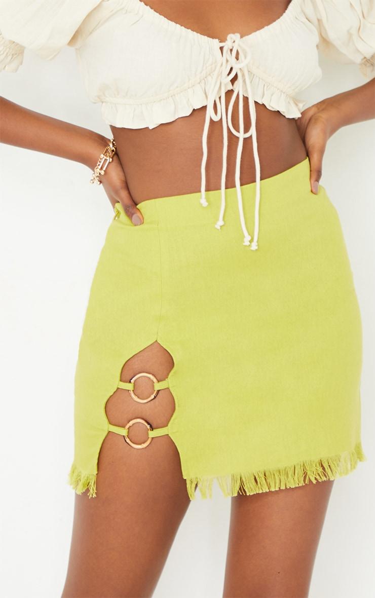 Lime Ring Detail Mini Skirt 5