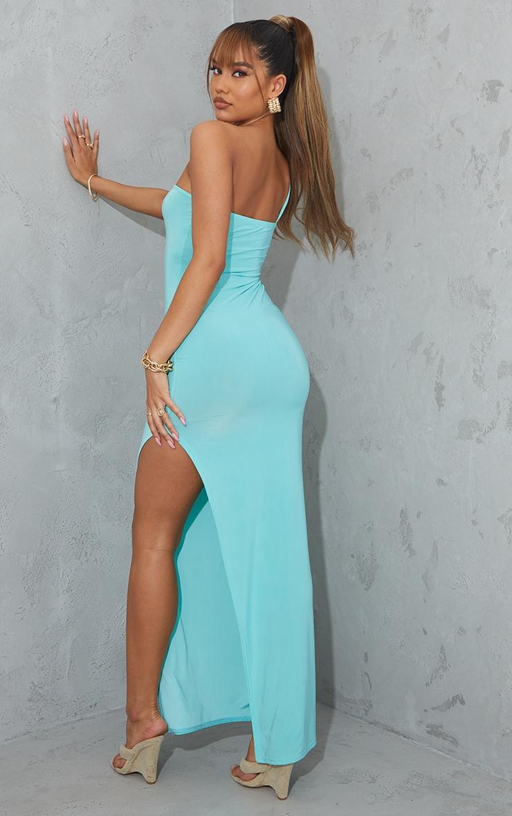 Aqua Blue One Shoulder Slinky Maxi Dress 2