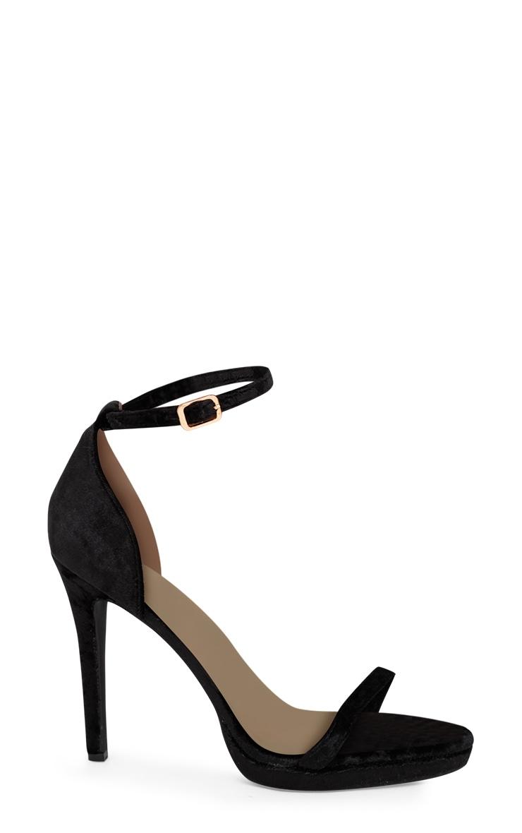 Black Velvet Single Strap Heeled Sandals 3