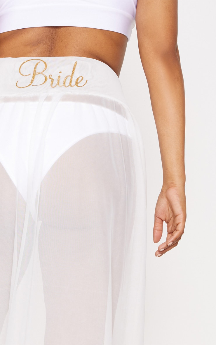 Plus Bride White Chiffon Beach Skirt 4