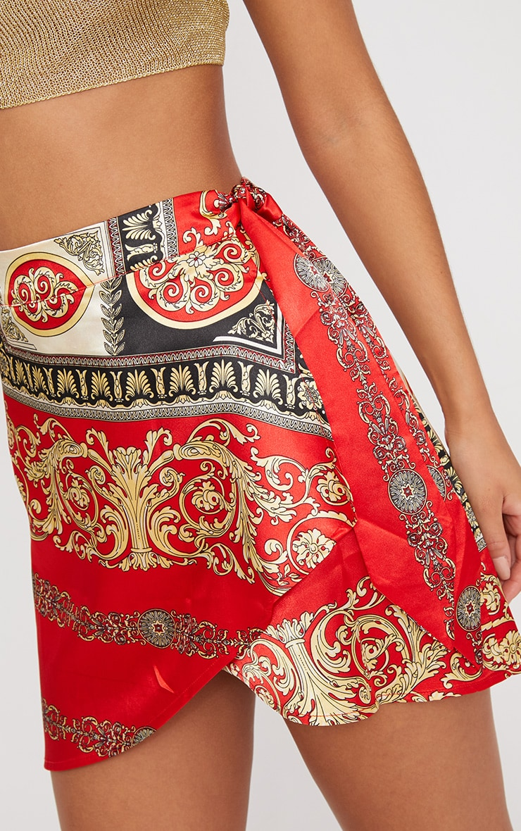 Red Satin Scarf Print Wrap Tie Mini Skirt 6