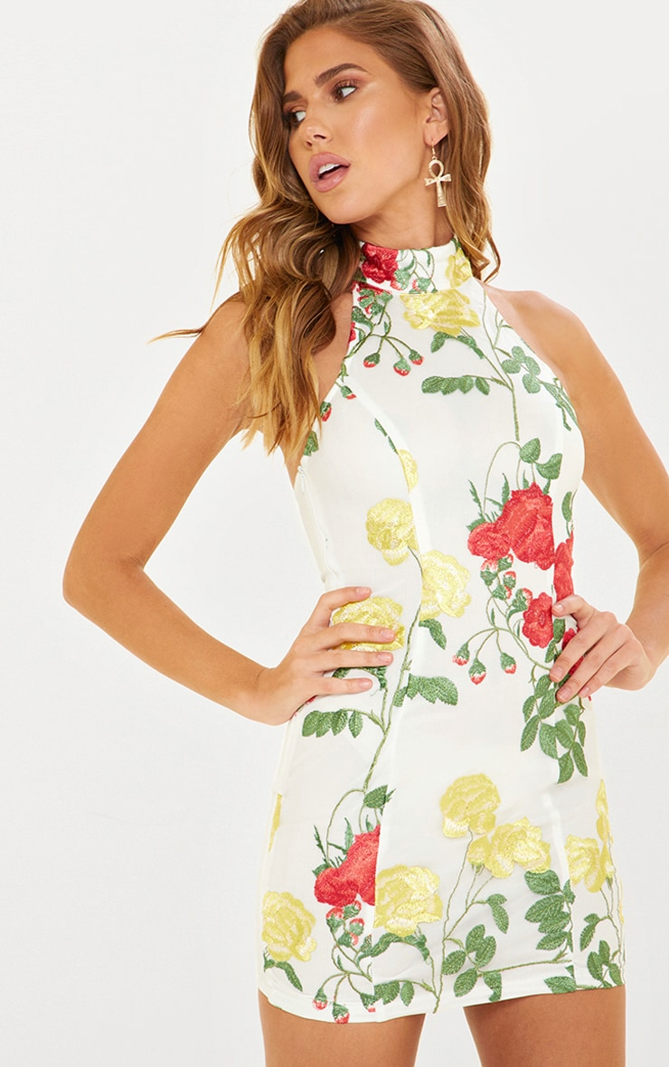 White Floral Embroidered High Neck Bodycon Dress 1