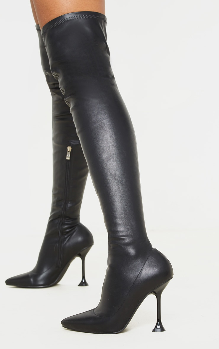 Black Cake Stand Thigh High Sock Boot 1