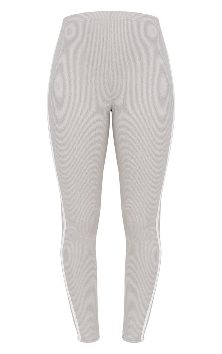 Grey Rib Sport Stripe Legging 3