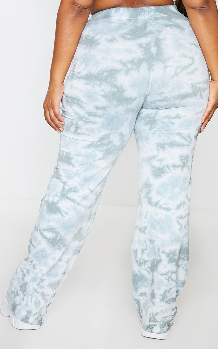 Plus Sage Green Tie Dye Flared Pants 3
