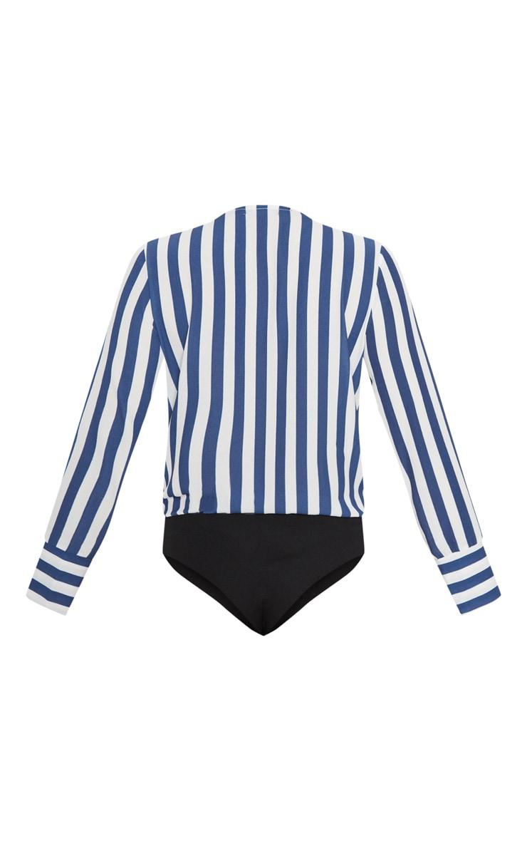 Navy Stripe Plunge Bodysuit 4