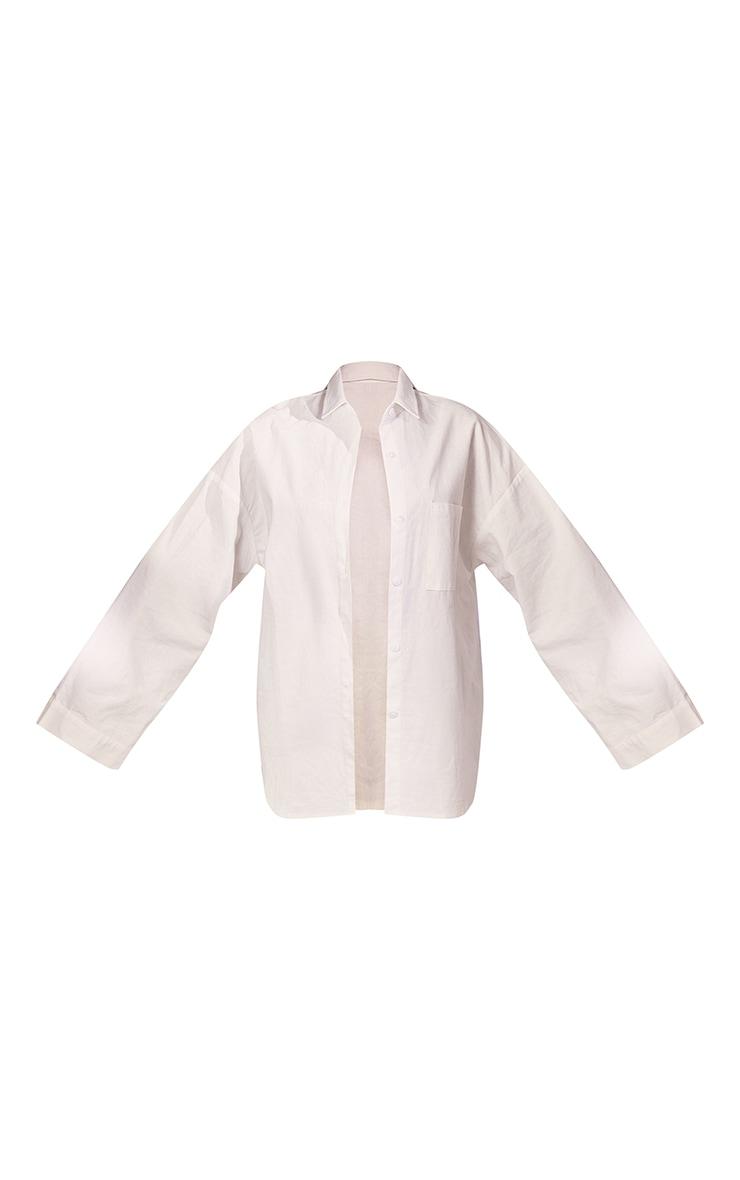 White Woven Balloon Sleeve Oversized Shirt 5