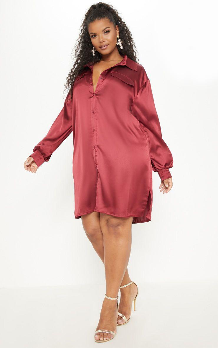 5abb9b6a6118 Plus Burgundy Satin Shirt Dress image 1
