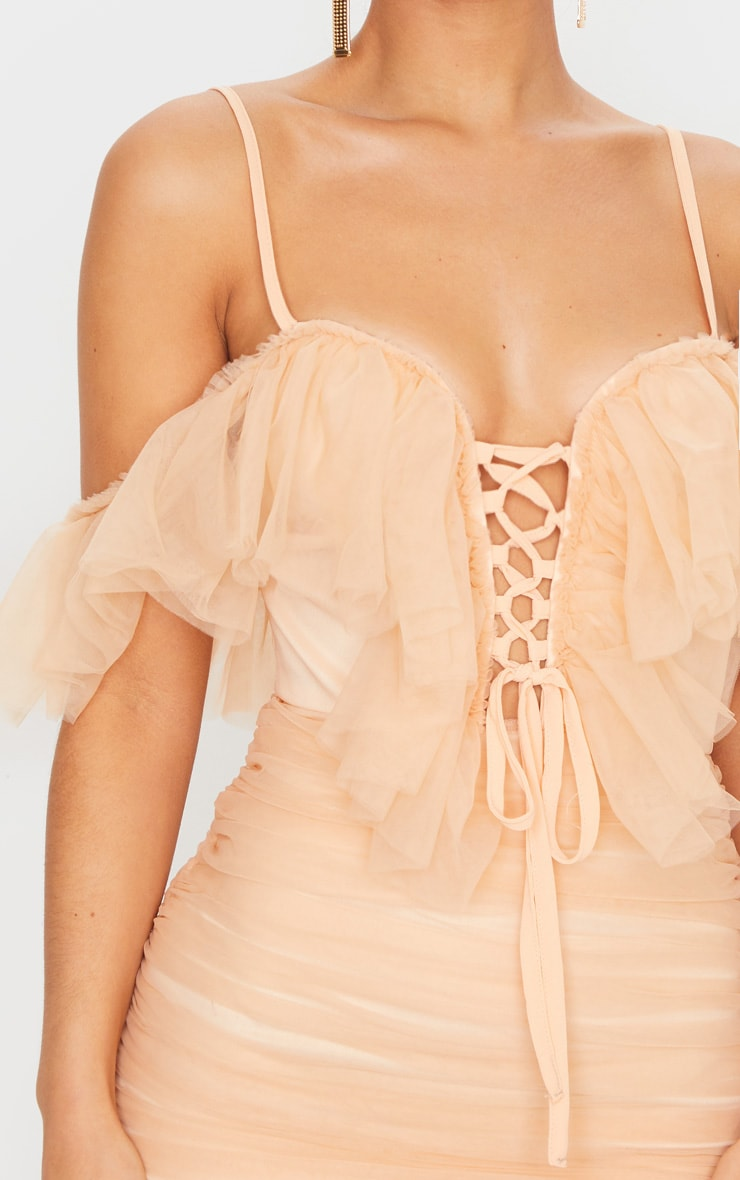 Nude Mesh Ruffle Tie Front Bodycon Dress 5