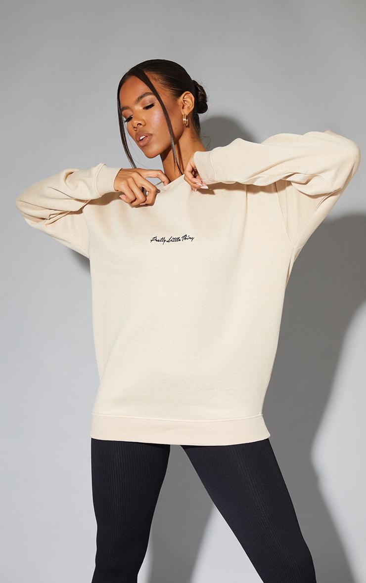 PRETTYLITTLETHING Recycled Sand Oversized Sweatshirt 1