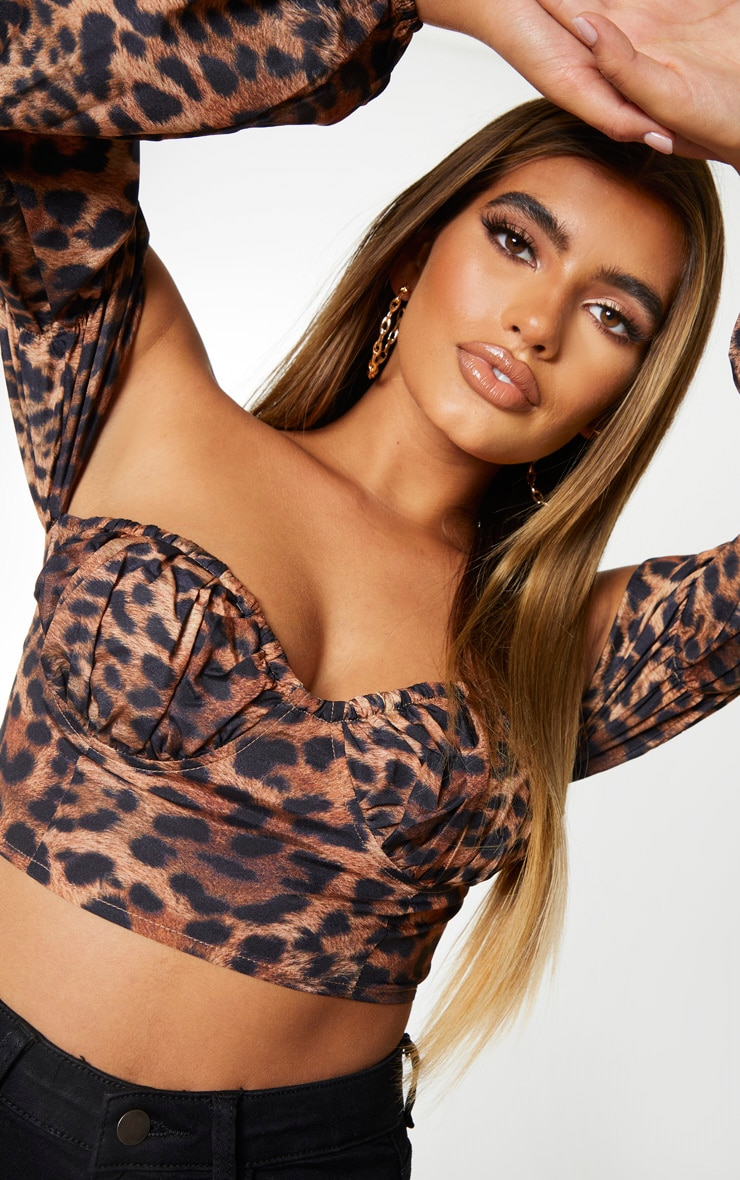 Tan Leopard Printed Sweetheart Bardot Crop Top 4