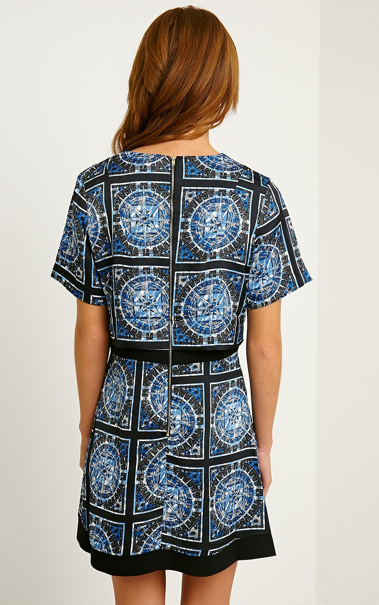 Leonarda Blue A-Line Printed Layered Shift Dress 2