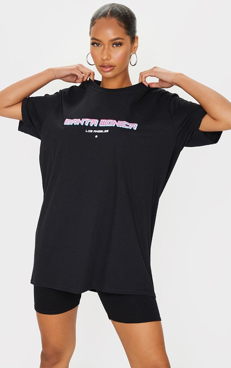 Black Santa Monica Printed T Shirt 1