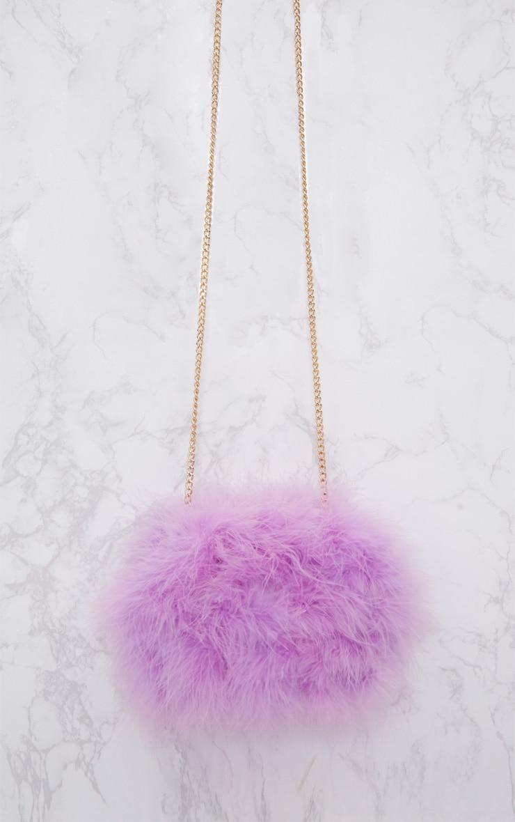 Lilac Marabou Feather Clutch Bag 3