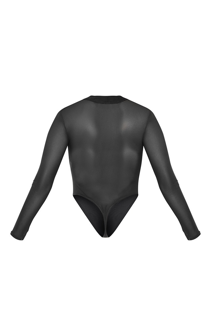 Petite Black Long Sleeve Mesh Body 4