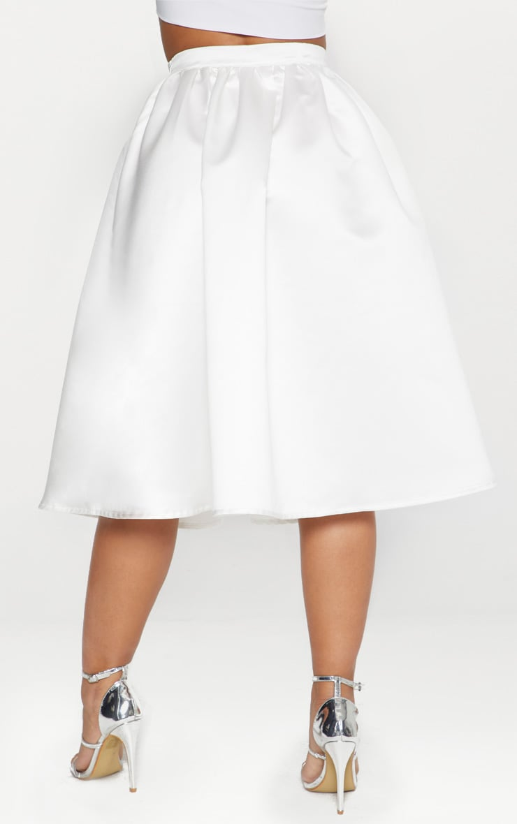 White Satin Full Midi Skirt  3