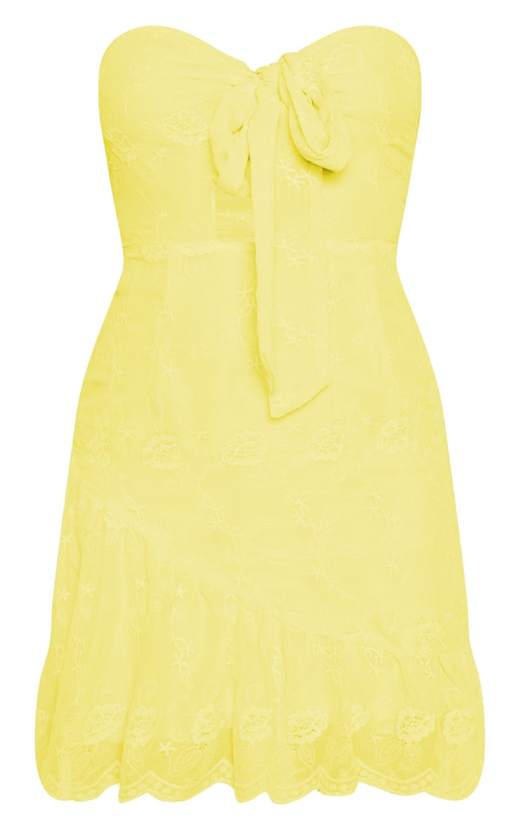 Lemon Broderie Bandeau Skater Dress 3