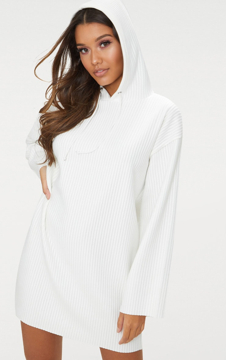 White Ribbed Hooded Jumper Dress