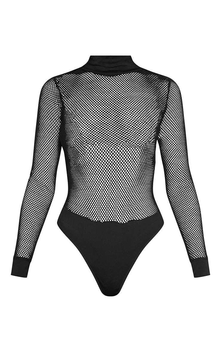 Black Long Sleeve Fishnet High Neck Bodysuit 3