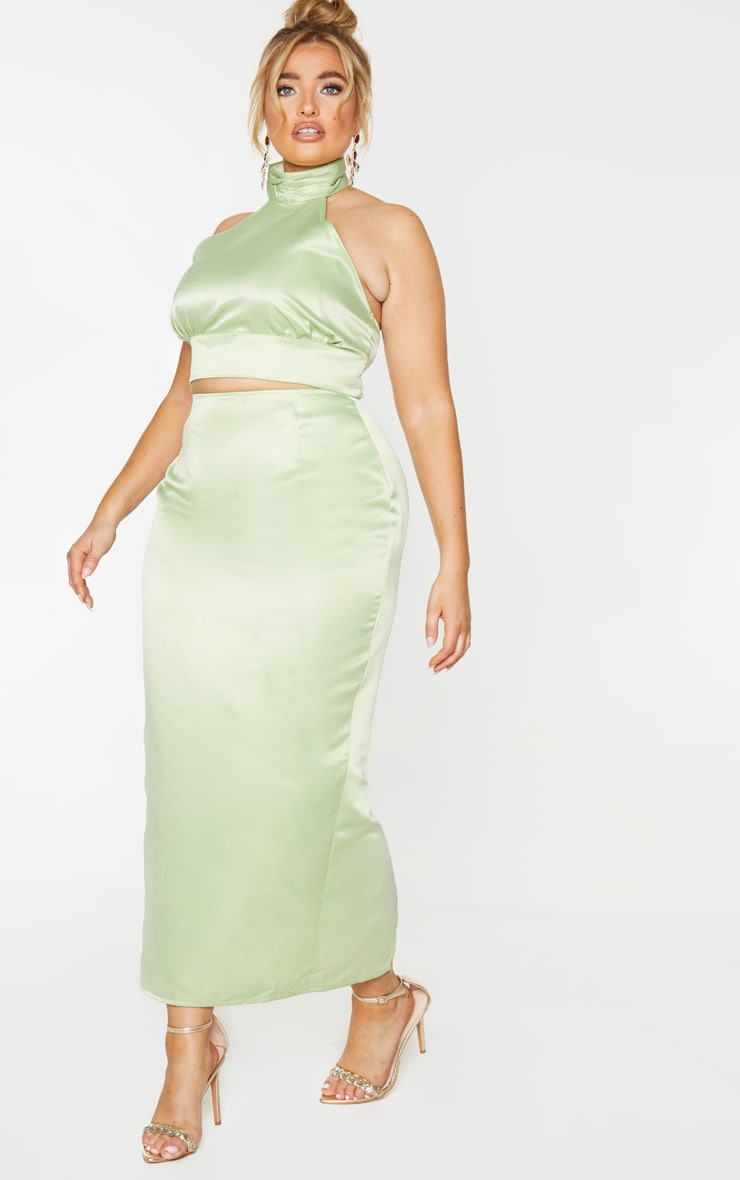 Plus Sage Green Structured Satin Midaxi Skirt