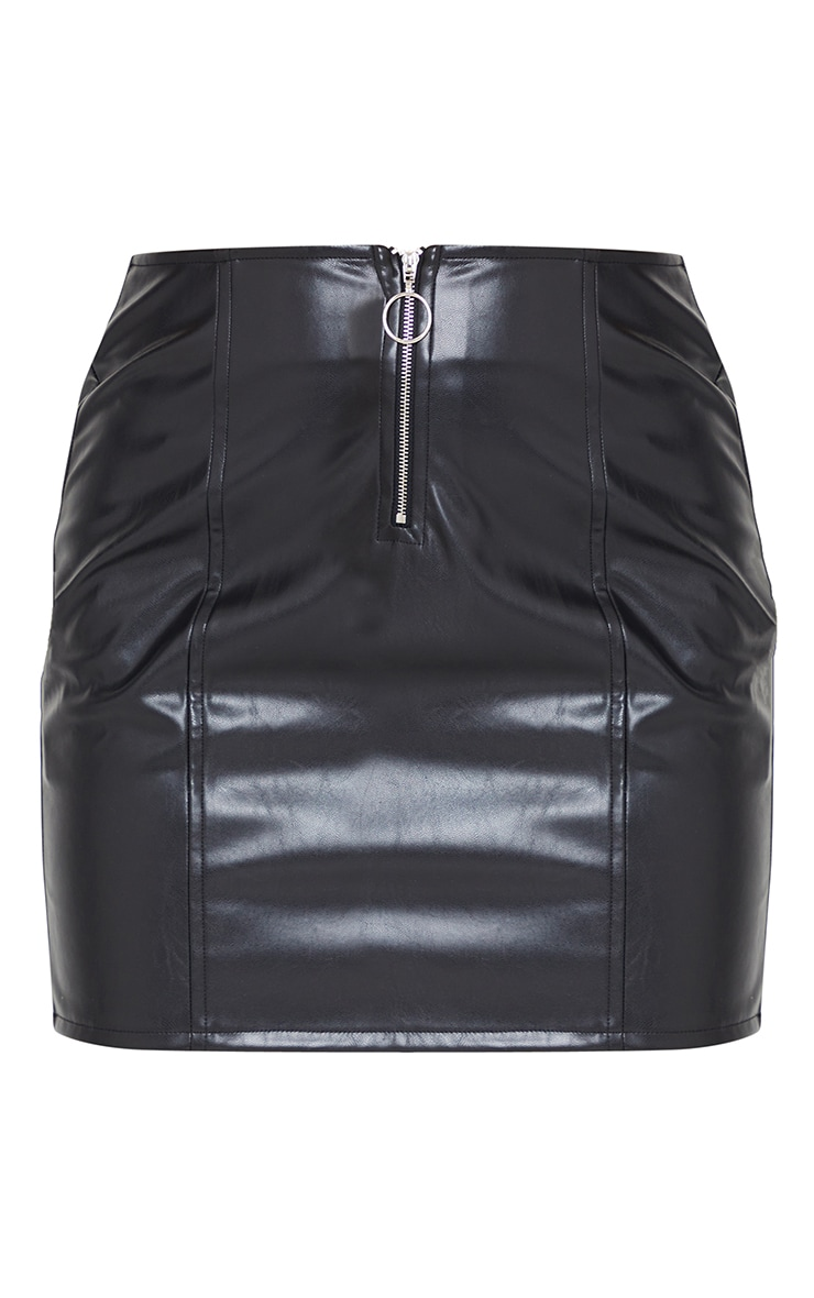 Petite Black Faux Leather Zip Through Mini Skirt 6