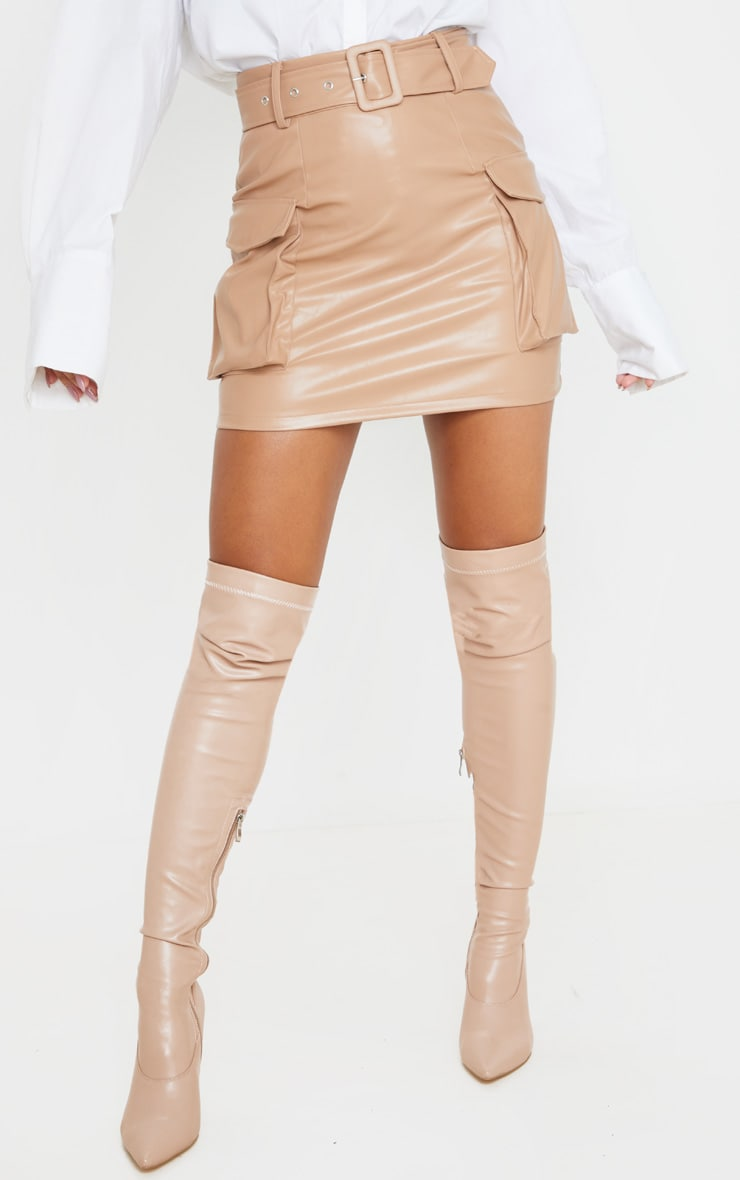 Camel Faux Leather Belted Cargo Pocket Mini Skirt  2