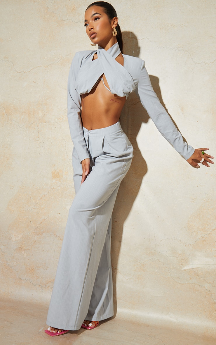 Light Grey Wide Leg Woven Pleated Detail Trousers 1