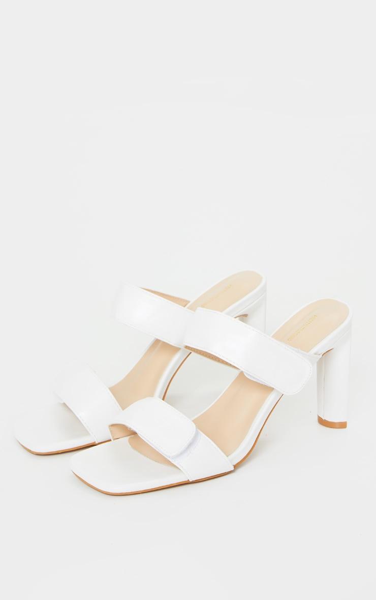 Mules blanches carrées à doubles brides Velcro et talon moyen 4