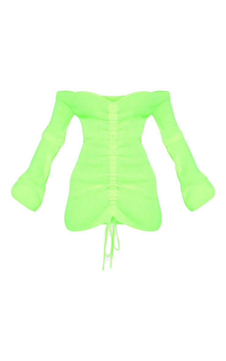 Neon Yellow Ruched Knitted Dress 3
