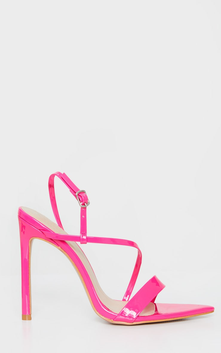 Bright Pink Asymmetric Strap Point Toe Heeled Sandal 4