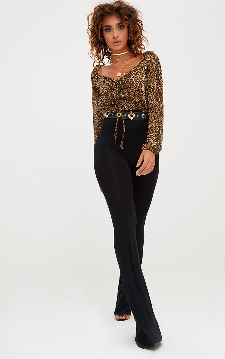 Tan Leopard Print Mesh Ruched Plunge Top 4