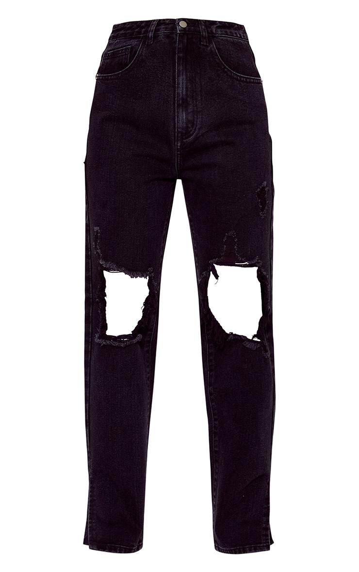Petite Black Distressed Knee Split Hem Denim Jean 5