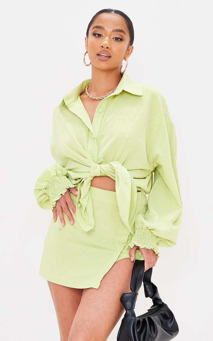 Petite Lime Split Detail Linen Look Mini Skirt 4