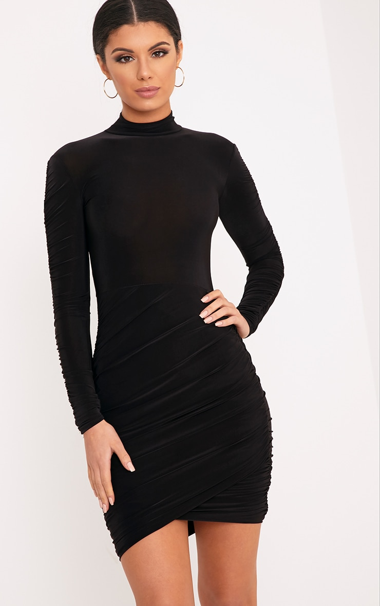 Sinitah Black Long Sleeve Ruched Bodycon Dress 1