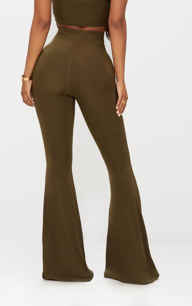 Shape Khaki Slinky Flared Trousers 4