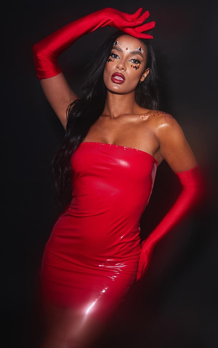 Red PU Bandeau Bodycon Dress 4