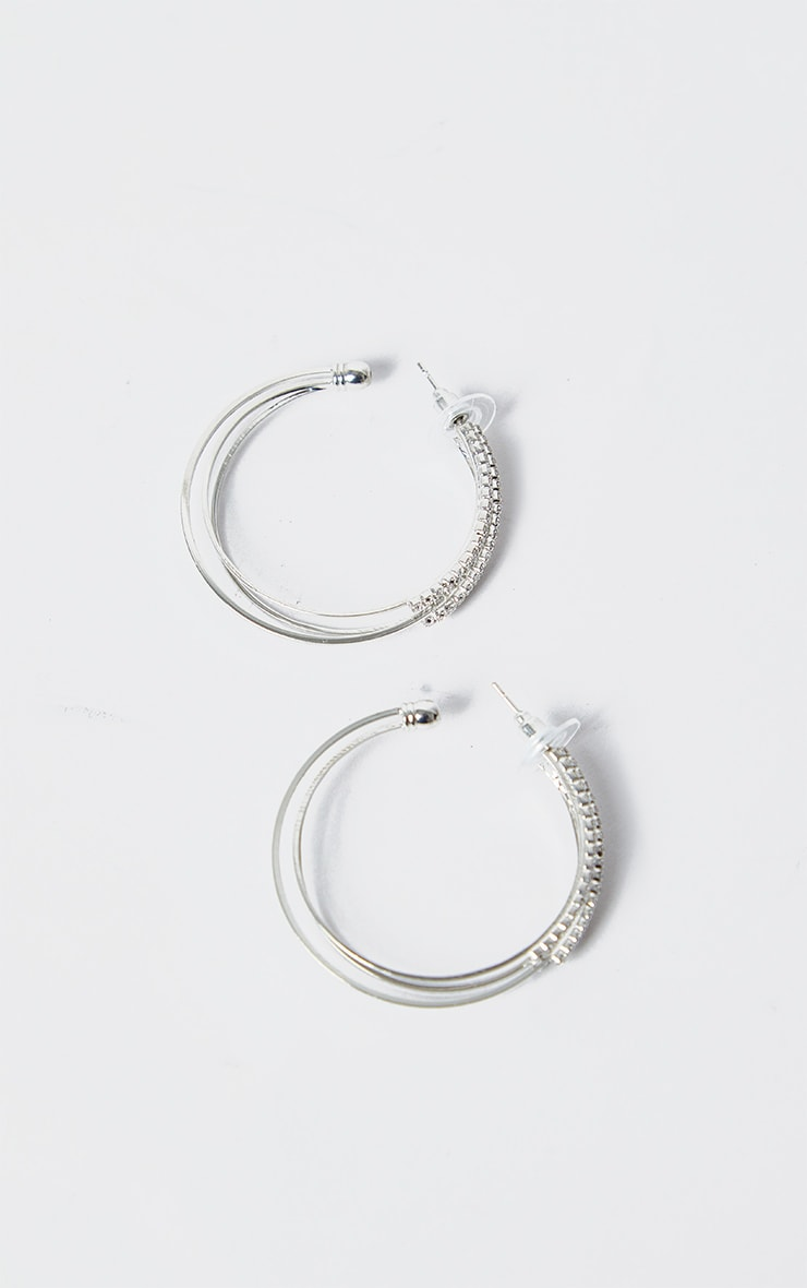 Silver Triple Diamante Medium Hoop Earring 2