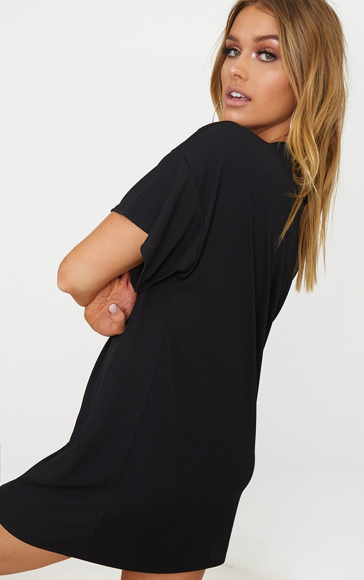 Black Ring Pull Zip Front Rib T Shirt Dress Pretty Little Thing Cheap Pay With Paypal Cheap Footlocker Visit New Online Discount Fashionable l0oLvN9iJ