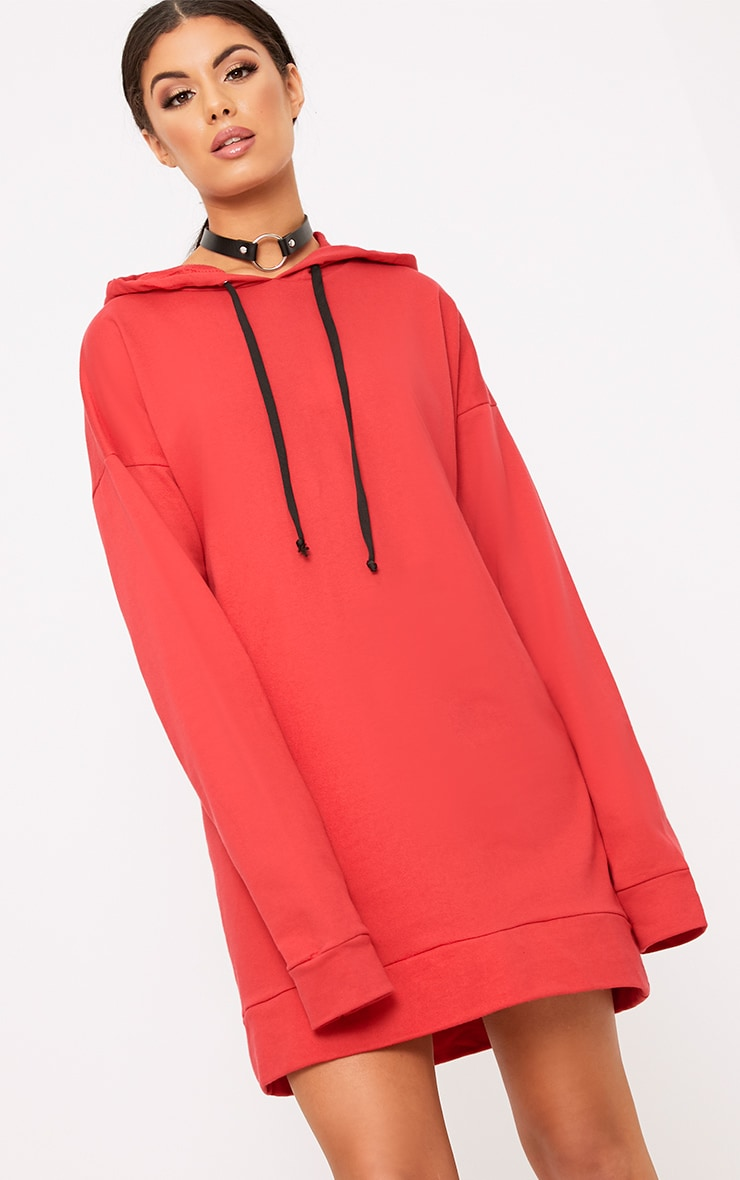 Anuliar Red Hooded Jumper Dress with Contrast Ties 1