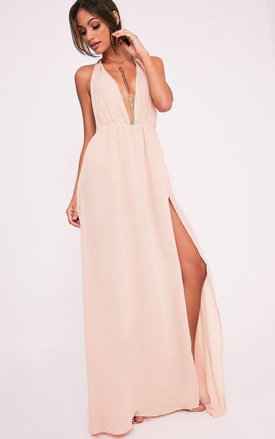 10f42fb99a8 Alina Nude Plunge Maxi Dress